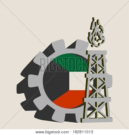 Gear with gas rig simple icon, textured by Kuwait flag. Heavy and mining industry concept. 3D vector icons