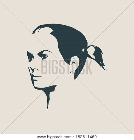 Face half turn view. Elegant silhouette of a female head. Vector Illustration. Pigtails hair style. Monochrome gamma.