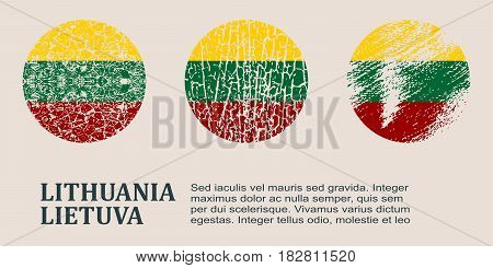 Lithuania flag design concept. Flags collection textured in grunge style with country name. Image relative to travel and politic themes. Translation of the inscription: Lithuania