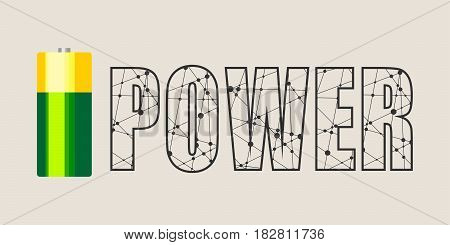 Vector illustration of cylinder battery. Power word
