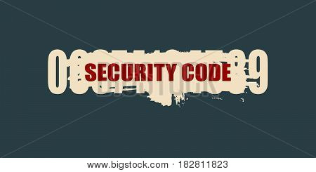 Protection concept. Security code numbers behind the brush stroke. Digital technology background.