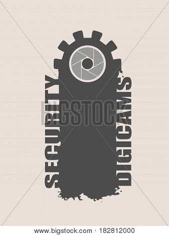 Video surveillance camera. Aperture symbol in gear and brush stroke. Security digicams text