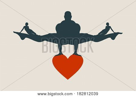 Muscular man balancing on heart icon. Vector silhouette. Woman icons on the legs of the man. Love triangle metaphor.