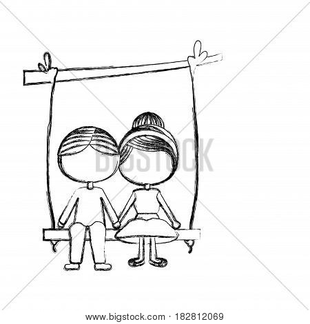 blurred silhouette faceless caricature guy in formal suit and girl with collected hair sit in swing hanging from a branch vector illustration
