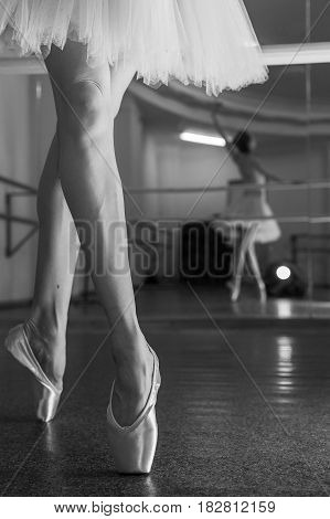 Ballerina in pointes and a pack warms up before the dance lesson. Crossed long slender female feet. Classical ballet. Prima ballerina. Shooting close-up. Black and white photography
