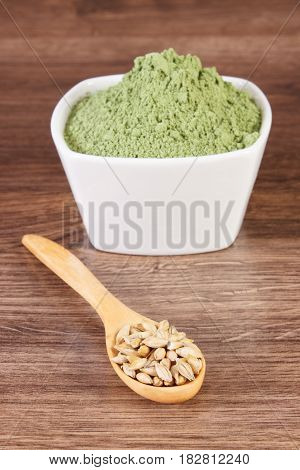 Barley Grain On Spoon And Heap Of Young Powder Barley In Bowl, Body Detox
