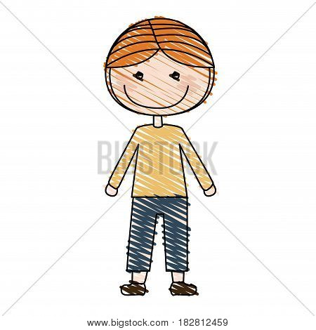 color pencil drawing of caricature blonded boy with coat and shorts vector illustration