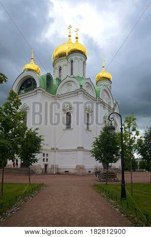 St. Catherine Cathedral under stormy skies. Tsarskoye Selo, Saint Petersburg