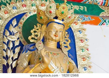 Inner Mongolia, China - Aug 13 2015: Budda Statue At Five Pagoda Temple(wutasi). A Famous Historic S