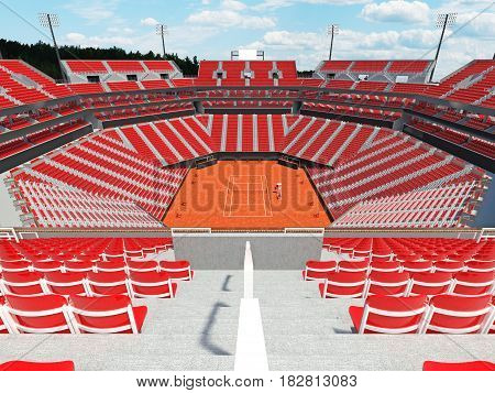 3D Render Of Beutiful Modern Tennis Clay Court Stadium With Red Chairs