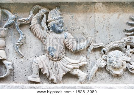 Inner Mongolia, China - Aug 13 2015: Relief At Five Pagoda Temple(wutasi). A Famous Historic Site In
