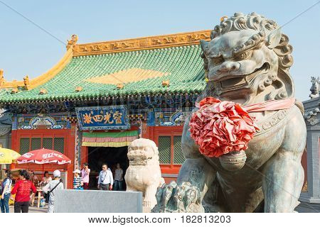 Inner Mongolia, China - Aug 13 2015: Lion Statue At Xilitu Zhao Temple(shiretu Juu). A Famous Histor