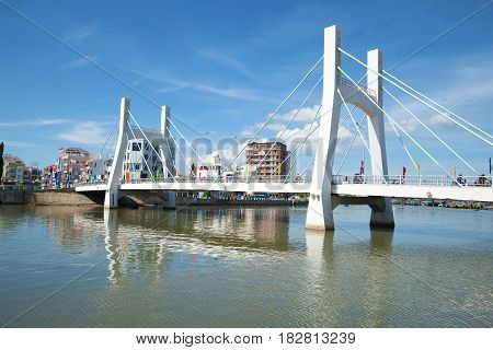 PHAN THIET, VIETNAM - DECEMBER 24, 2015: Modern cable-stayed bridge over the river Tu Sa on a sunny day