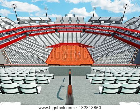 3D Render Of Beutiful Modern Tennis Clay Court Stadium With White Chairs