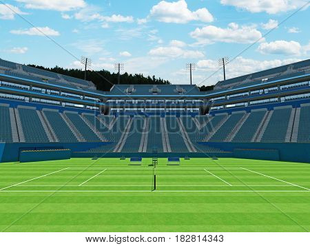 3D Render Of Beautiful Large Modern Tennis Grass Court Stadium With Blue Chairs