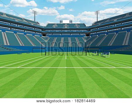 3D Render Of Beautiful Large Modern Tennis Grass Court Stadium