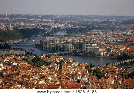 Prague city view. Taken from the Petrin Hill