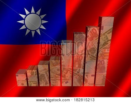 Currency graph on rippled Taiwanese flag 3d illustration