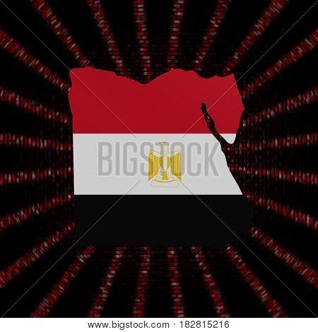Egypt map flag on red hex code burst 3d illustration