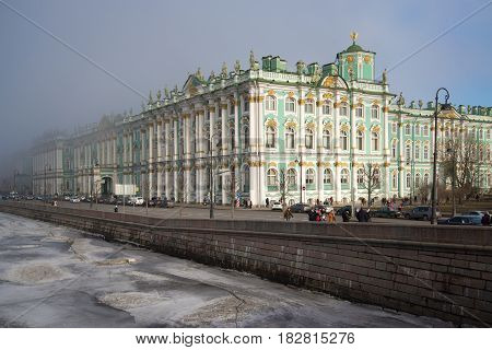 SAINT PETERSBURG, RUSSIA - MARCH 12, 2017: Winter Palace covered with fog on a March day