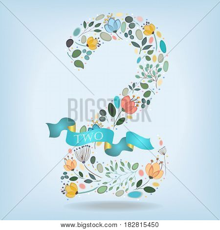Floral Number Two. Watercolor graceful flowers plants and blurs. Blue ribbon with golden back and white text. Vector Illustration