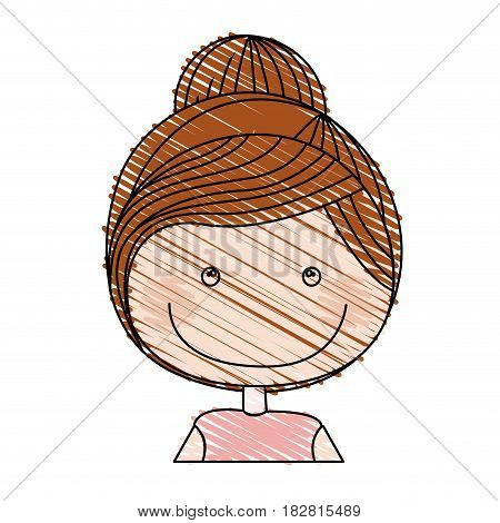color pencil drawing of caricature half body girl with collected hair vector illustration