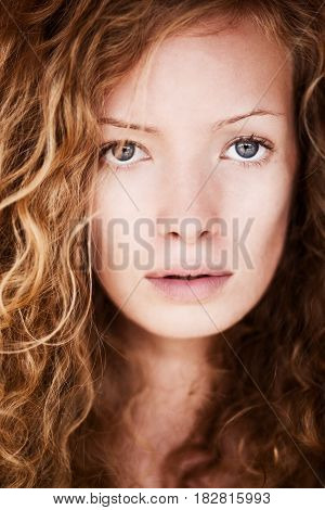 Portrat of Natural Curly noble woman. Closeup