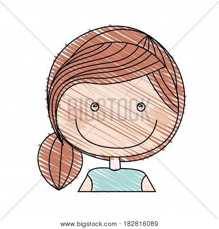color pencil drawing of caricature half body girl with ponytail hair vector illustration