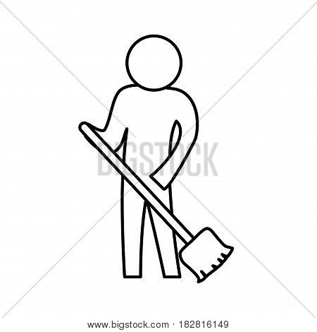 Sweeping the floor icon vector illustration graphic design