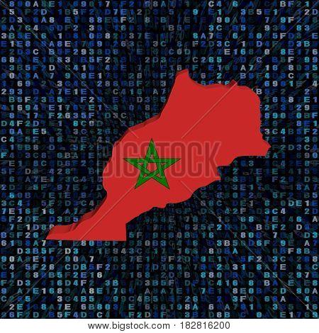 Morocco map flag on hex code 3d illustration