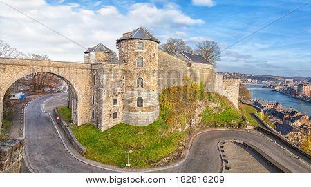 Panoramic View On Citadel In Namur, Belgium