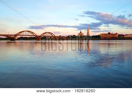Panorama of the Volga Embankment in the July twilight. Rybinsk, Russia