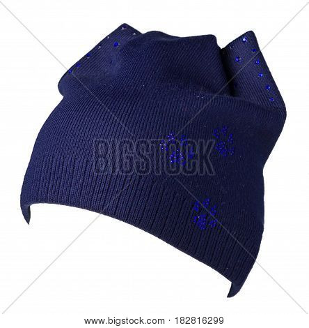 Women's Hat . Knitted Hat Isolated On White Background .blue Hat