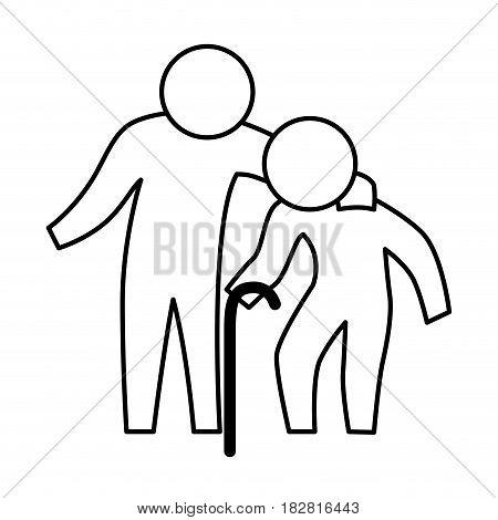 Man helping elder icon vector illustration graphic design