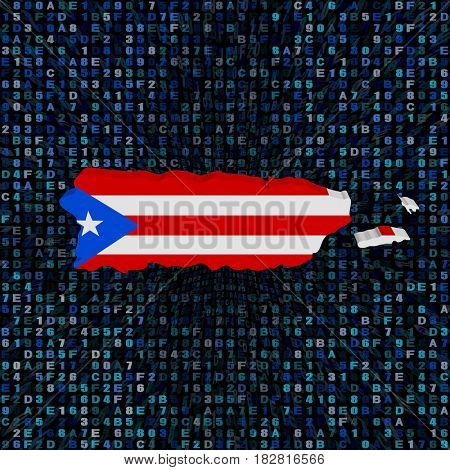 Puerto Rico map flag on hex code 3d illustration