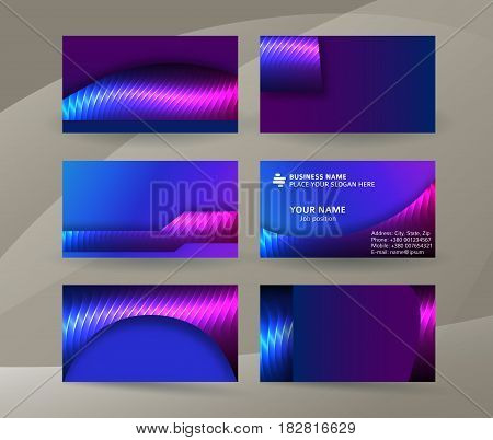 Business Card Background Blue Magenta Neon Effect02