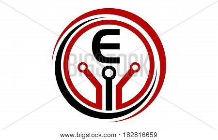 This vector describe about Digital World and Electrical Connections Initial E