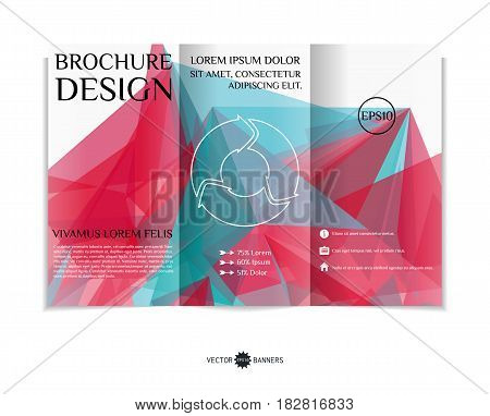 Tri-fold brochure template with modern geometric background. Three-fold leaflet design with random geometric forms. Vector illustration.