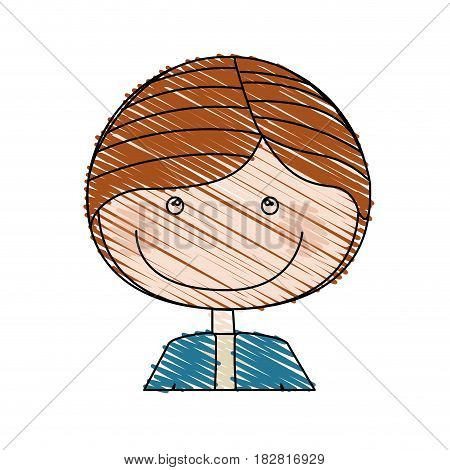 color pencil drawing of caricature half body guy with jacket vector illustration