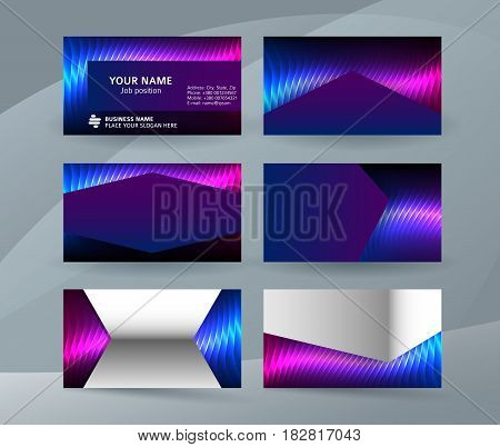 Business Card Background Blue Magenta Neon Effect03