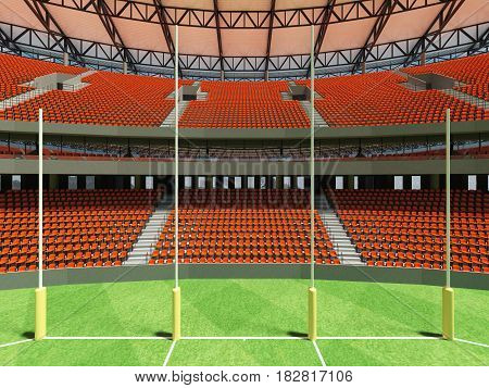 3D Render Of A Round Australian Rules Football Stadium With  Orange Seats And Vip Boxes