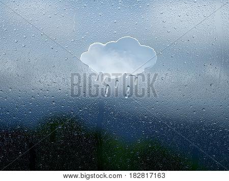 Water drop forming a cloud rain - 3D Rendering