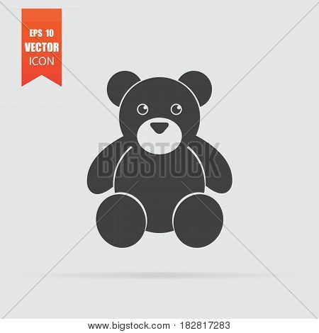 Teddy Bear Icon In Flat Style Isolated On Grey Background.