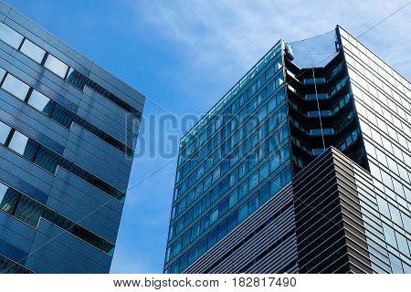 Office glass building skyscraper Modern blue architecture