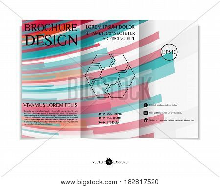 Tri-fold brochure template with modern geometric background. Three-fold leaflet design with random lines and tripes. Vector illustration.