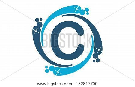 This vector describe about Water Clean Service Abbreviation Letter C