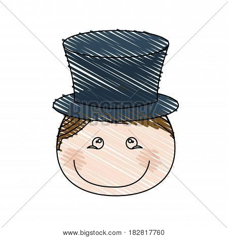 color pencil drawing of caricature front face boy with hat vector illustration