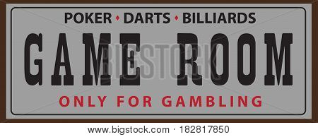 Street pointer for the Game room with billiards poker and darts