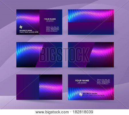 Business Card Background Blue Magenta Neon Effect06