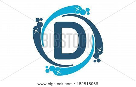 This vector describe about Water Clean Service Abbreviation Letter D